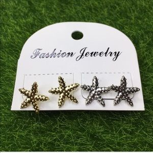 Jewelry - Silver and Gold Starfish Earrings